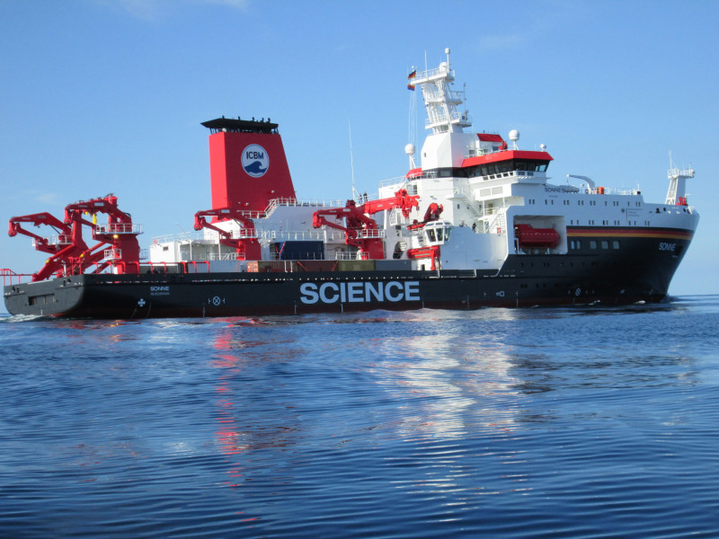 The German Sonne is one of the best technically equipped research vessels curren