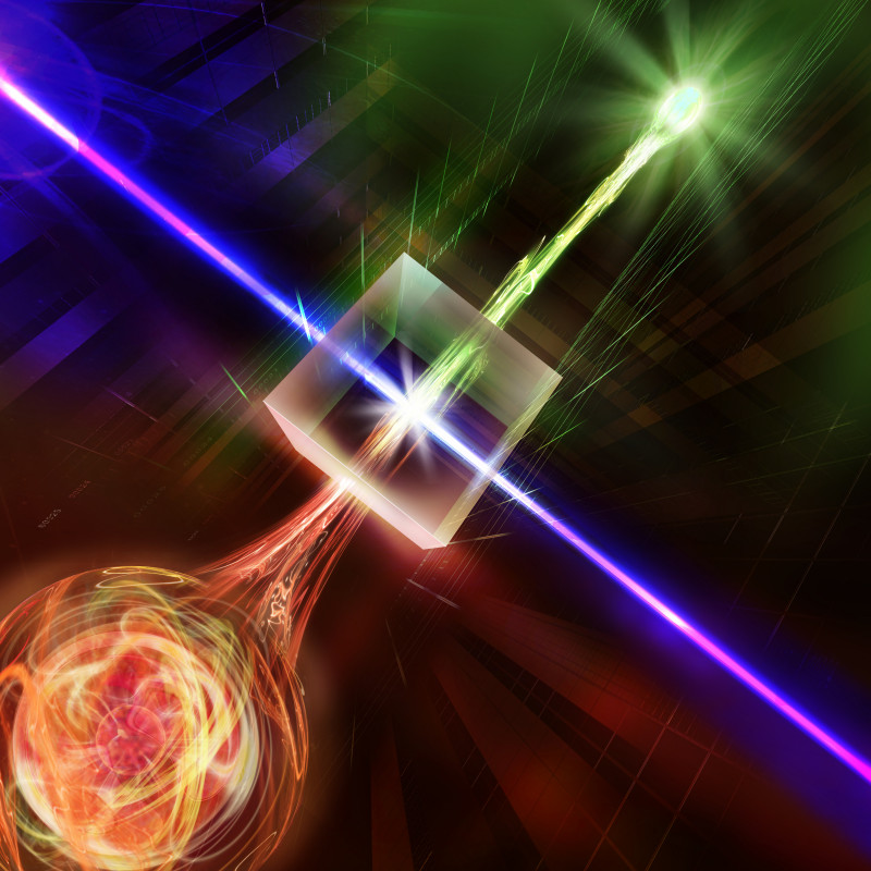 In a nonlinear crystal illuminated by a strong laser the photon wavelength is co