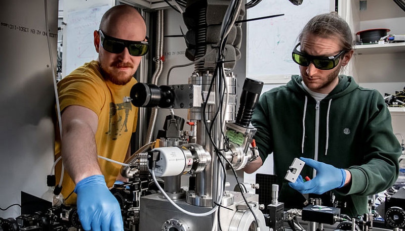 Scientists from Vienna, Kahan Dare (left) and Manuel Reisenbauer (right) working