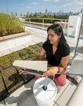 Assistant Bala Chaudhary sets up a dust collection box on the green roof high at